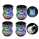Zeerkeer Cambiamento Cromatico Bicchiere Bicchieri con LED 5 LED Luci Acrilico Plexiglass non Fragile Impermeabile Marble Texture Materiale 4pcs