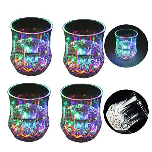 Zeerkeer Farbwechsler Trinkglas Gläser mit LED 5 LED Leuchten Acryl Plexiglas Nicht zerbrechlich Wasserdichte Marble Textur PC-Material für Party, Geburtstag, Nacht, Clubbing, Weihnachten(4)