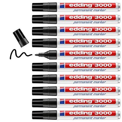 edding 3000 Permanentmarker - schwarz - 10 Stifte - Rund-Spitze 1,5-3 mm - schnell trocknender Permanent Marker - wasserfest, wischfest - für Karton, Kunststoff, Holz, Metall - Universalmarker