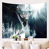 Amiiba - Tapiz de pared para colgar en la pared, diseño de ciervos, decoración del hogar, para dormitorio, sala de estar (ciervos, 200,7 x 149,9 cm)