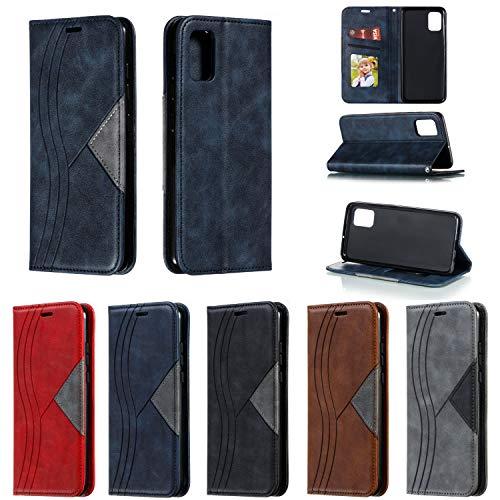 SNOW COLOR Coque Galaxy A51 Portefeuille, en Cuir Flip Case pour Bumper Protecteur Magnétique Fente Carte Housse Cover Coque pour Samsung Galaxy A51 - COYKB040107 Bleu