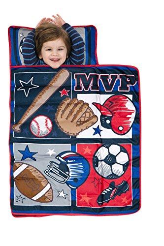 Baby Boom - Juego de colchoneta para siesta (incluye almohada y manta de forro polar), MVP Deportes, Azul, rojo