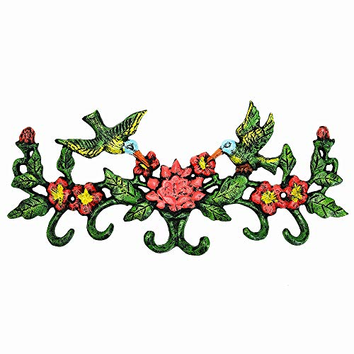 appendiabiti ferro battuto Sungmor Appendiabiti da Parete colorato in ghisa con Fiore colorato Hummingbird con 6 Ganci - 28
