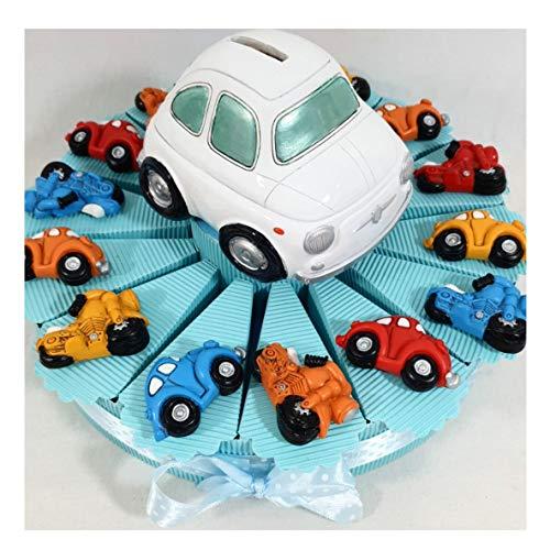 Sindy Bomboniere 8054382130 Torta Bomboniera Macchine Auto Moto Magnete, salvadanaio e Confetti Inclusi, Resina, Celeste, 4 x 3 x 5 cm