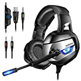 ONIKUMA Stereo Cuffie Gaming per PC, PS4, Xbox One, 7,1 Suono Surround Migliorato, Cuffie con...