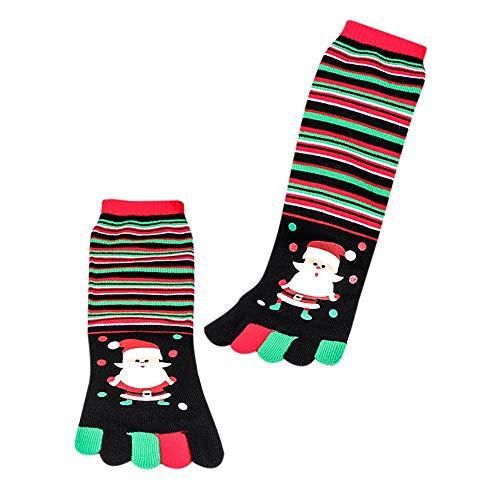 YWLINK Herren Damen Baumwolle Weihnachtsmann Drucken Multicolor Zehensocken FüNf Finger Midrohrsocken Socken Lustige Socken Unisex