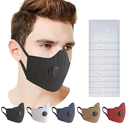 5 Pack Protecore Cotton Face Masks with Breathing Valve with 10 Activated Carbon PM2.5 Filters - Anti Dusk, Anti Haze, Anti Pollution - Reusable & Washable Clothing Face Mask with Nose Wire