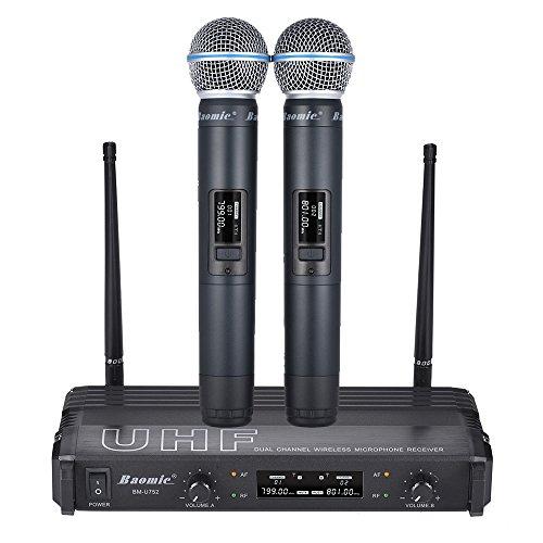 ammoon Sistema di Microfono Professionale Doppio Canale UHF Digi Famiglia Presentazione delle prestazioni Indirizzo pubblico Baomic BM-U752 Nero