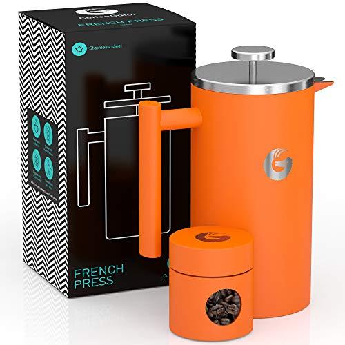 CAFETIERE A Piston/A Pression Orange 1 Litre en INOX de qualité supérieure avec parois isolantes - Votre café Reste Chaud...