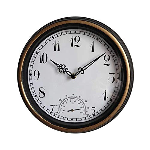 Relojes de jardín a prueba de agua a prueba de agua, relojes al aire libre retro de 12 pulgadas para el jardín Montado en la pared con termómetro Reloj silencioso exterior de reloj de interior Decorac