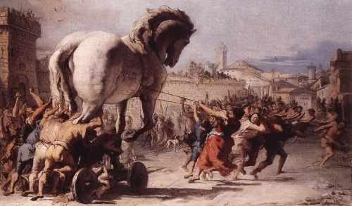 Tiepolo Giovanni Domenico De processie van het Trojaanse paard In Troy A4 10x8 Photo Print Poster