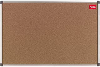Nobo 1902117 - コルク底付き掲示板、エッジプロテクター付きアルミフレーム、ピンセット、ノート用透明ホワイトボード、シングルパック、60 x 45 cm、ブラウン