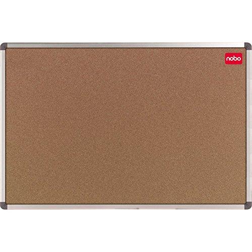 Nobo 1902118 kurkbord met aluminium frame, montageset, folieverpakt whiteboard en Memo Board/bescherming op hoeken / 90 x 60 cm bruin