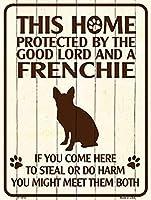 Smart Blonde ビンテージ風 英語版 おしゃれな 猛犬注意の看板 プレート 犬がいます 屋外OK 錆びないアルミ製 (ミニ (11.5x15cm), フレンチブルドッグ)
