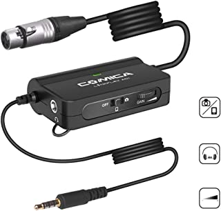 Comica LinkFlexAD1 Microphone Preamp Xlr to 3.5mm Audio Adapter with Real-time Audio Monitoring,Stepless Gain Control,xlr to Trs/Trrs Adapter for DSLR Camera Camcorder & SmartPhones Pc Tablets(149in)