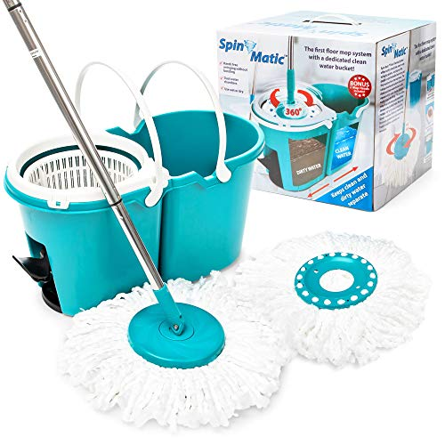 Spin Matic Spin Mop - Hardwood Floor Cleaner, Microfiber Mop and Bucket with Wringer Set - Sponge Mops for Cleaning Floors - Buckets with Pedal for Dusting Flooring