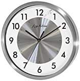 Fzy.bstim Non Ticking Silent Wall Clock Decorative,Analog Stainless Steel Wall Clock Battery Operated,Office/Living Room/Bedroom/Kitchen Clock,10 Inch,Silver