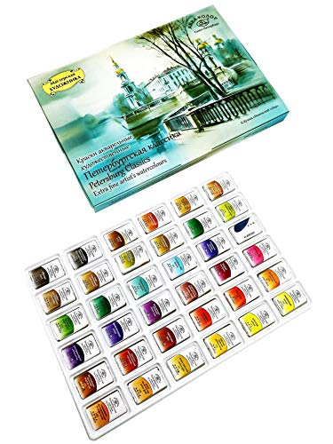 Watercolor Paint Set for Artists, 'Petersburg Classics' Series - 36 watercolor paints in Pans (1x0,55 in) for painting, fine art, filled by hand. Watercolor artist set - traditional colors.
