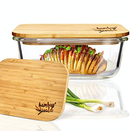 bambuswald© Frischhaltedose aus Glas mit 640ml - Glasbehälter mit Deckel aus ökologischen Bambus - Glasschale Backofen geeignet - Glasschüssel Glasdose Vorratsdosen