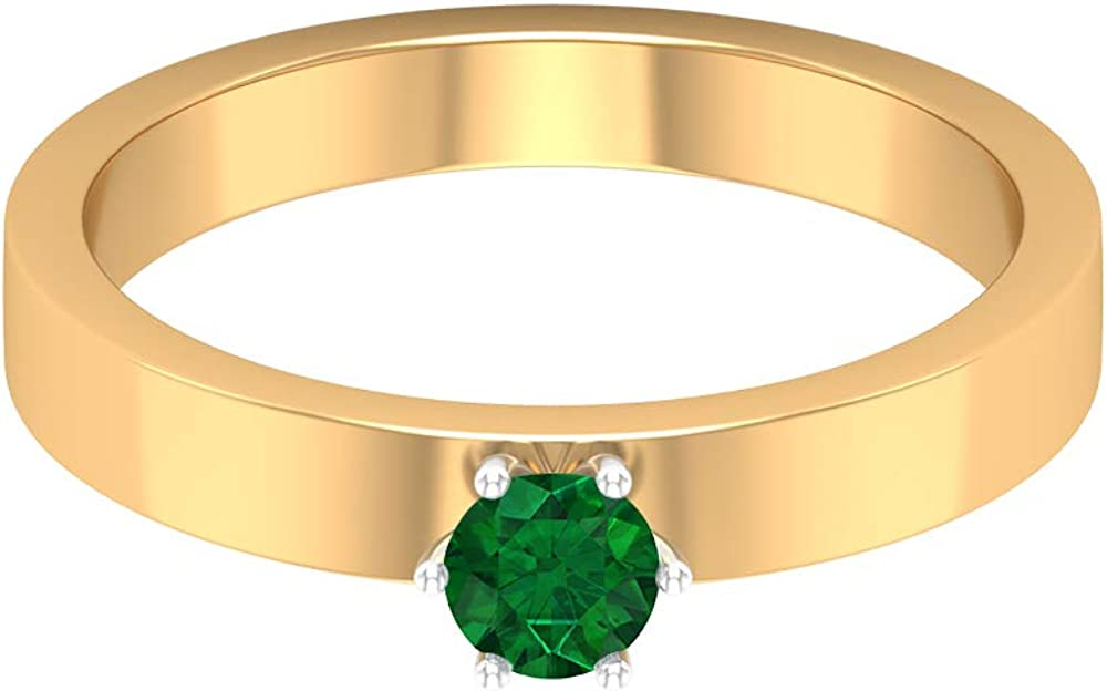 4.00 MM Emerald Ring, Solitaire Wedding Band, Simple Gold Band (AAA Quality), 14K Gold