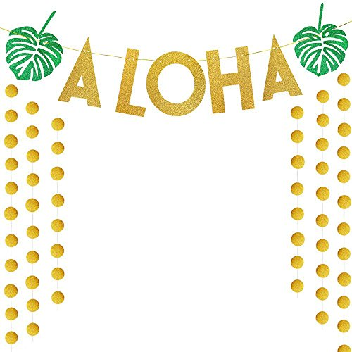 SIMUER Tropical Luau Hawaiian Summer Party Supplies Glitter Paper Garland Circle Dots & Hawaii ALOHA Banner Hanging Decor for Christmas docce da sposa, feste di compleanno, baby shower (oro)
