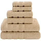American Soft Linen Towel Set, 2 Bath Towels 2 Hand Towels 2 Washcloths Super Soft and Absorbent 100% Turkish Cotton Towels for Bathroom and Kitchen Shower Towel Sand Taupe