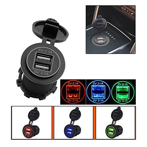 OurLeeme LED voiture 4.2A double prise USB Chargeur adaptateur secteur Sortie 12-24 pour Auto Truck VTT Bateau de moto de charge téléphone portable Tablet rouge