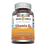 Amazing Nutrition Vitamin B6 Dietary Supplement – 100 mg Tablets (Non-GMO,Gluten Free) – Supports Healthy Nervous System, Metabolism & Cell Health (250 Count)