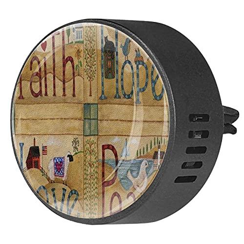 2 paquetes de difusor de coche con ambientadores de clip,Faith Hope Love Peace Decorativo Rústico American Un País Granja ,Aceite esencial de aromaterapia portátil para dormitorio