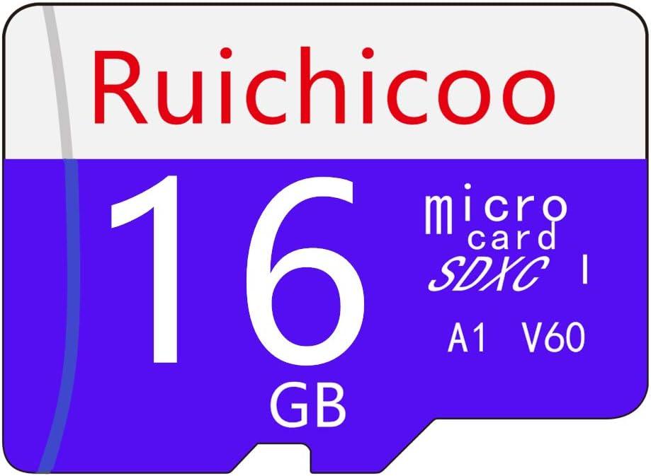 Ruichicoo 16GB Memory Card,High Speed Class-10 Memory Card with Adapter - V60, C10, U3, Full HD, A1, UHS-I (16GB)