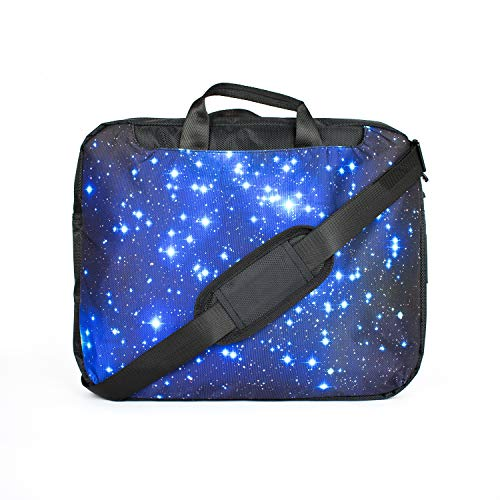 TaylorHe 15.6 inch 15 inch 16 inch Hard Wearing Nylon Laptop Carry Case Colourful Laptop Shoulder Bag with Patterns, Side Pockets Handles and Detachable Strap Blue Stars in Space