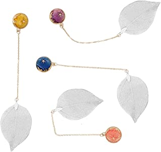 4Pcs Fashion Leaves Metal Chain Pendant Bookmark, Handmade Silver Leaf Vein with Starry Sky of Different Colors for Adults Kids Bookworms