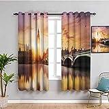 London Decor Collection - Cortina de cortina con diseño de Big Ben y Westminster Bridge at Dusk con borroso río Reflexión Fotografía Cortina de baño Sandy Orange Lavanda W108 x L84 pulgadas