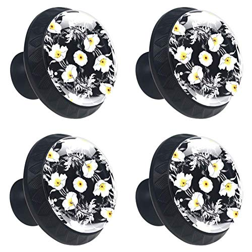 Zwarte en witte hond Paw Set van 4 dressoir knoppen - kleurrijke decoratieve bloemenlade handvat Home Decor Hardware Pull knoppen 3.5×2.8CM / 1.38×1.10in Multi04