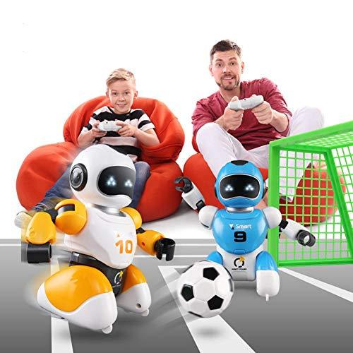 MaiTian Robot de fútbol, Inteligente USB RC Robot, luchando fútbol, fútbol Cantando Bailando, Juguete Educativo, RC Inteligente fútbol Robots Juguete Padre-Hijo (Azul + Naranja + GOL)