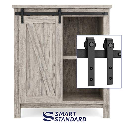 SMARTSTANDARD 3ft Cabinet Barn Door Hardware Track Kit -Super Mini Sliding Door Hardware - Smoothly and Quietly - for Cabinet, TV Stand, Closet - Fit 18' Wide Door Panel - J Shape Hanger (NO Cabinet)