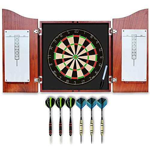 Dart Board Set with Solid Wooden Cabinet + 17inch Bristle Dartboard +...