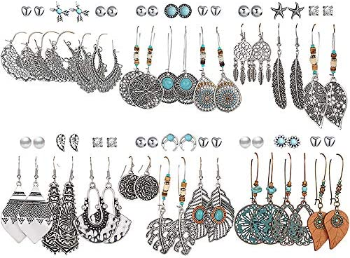 36 Pairs Fashion Vintage Drop Dangle Earrings Set for Women Girls Bohemian Earrings with Hollow product image