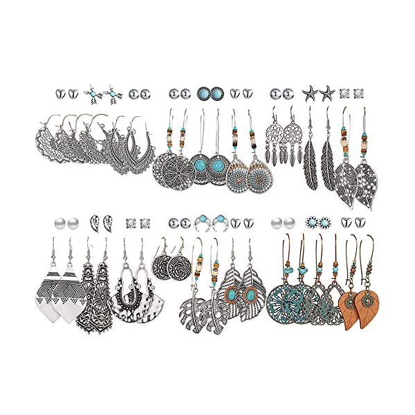36 Pairs Fashion Vintage Drop Dangle Earrings Set for Women Girls Bohemian Earrings...