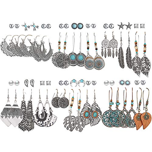 36 Pairs Fashion Vintage Drop Dangle Earrings Set for Women Girls Bohemian Earrings with Hollow Leaf Waterdrop Jewelry for Birthday/Party/Christmas Gifts