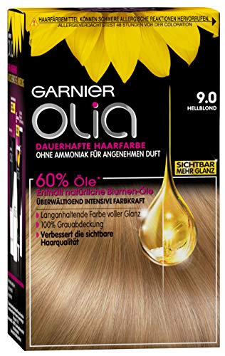 Garnier Olia Haar Coloration Hellblond 9.0 / Färbung für Haare enthält 60% Blumen-Öle für intensive Farbkraft - Ohne Ammoniak - 3 x 1 Stück