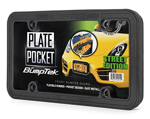 BumpTEK Plate Pocket (Street Edition) - The Thickest, Toughest, All Rubber Front Bumper Guard, Front Bumper Protection, License Plate Frame. Flexible Rubber Cushions Parking Bumps!