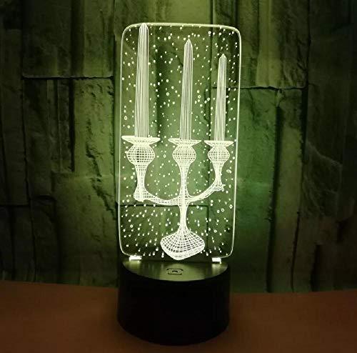 3D LED decorativo de iluminación cable vela candelabro en forma de USB multicolor dormitorio noche luz festival amigos regalos lámpara de mesa