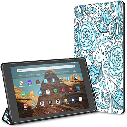 Ultra Thin Folding Case Compatible with 10.1' Amazon Fire HD 10 Tablet (9th/7th Generation,2019/2017 Release),Cover with Auto Wake/Sleep Floral Pattern Beautiful Mermaids