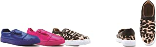 Qupid Women's Side Zip Fashion Sneaker Lycra or Canvas Moira-13 Blue, Pink, Camel Leopard
