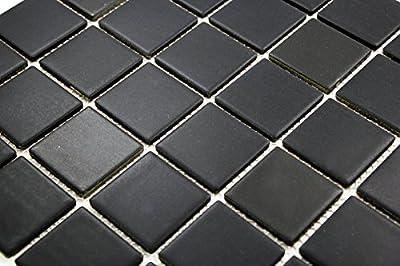 Porcelain Premium Quality 2x2 Black Square Matte Mosaic Tile, Great For Bathroom Tile, Floor Tile, Wall Tile and Kitchen Backsplash Tiles on 12x12 Sheet- ( Box of 5 Pcs)