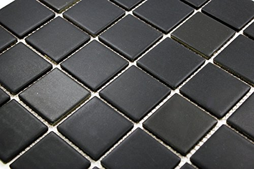 Porcelain Premium Quality 2x2 Black Square Matte Mosaic Tile, Great...