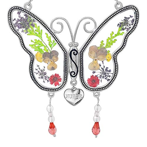 BANBERRY DESIGNS Nurse Butterfly Sun Catcher - Pressed Dried Flower Wings with Beads and a Silver Heart Charm Engraved with Nurse - 4.25 Inches - Nurses...