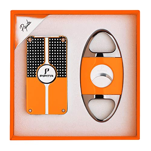 PIPITA Cigar Lighter and Cigar Cutter Set (2pcs/Set), Jet 3 Flame Cigar Lighter Torch and Cigar Cutter, Packing with Nice Gift Box (Silver, Lighter+Cutter)
