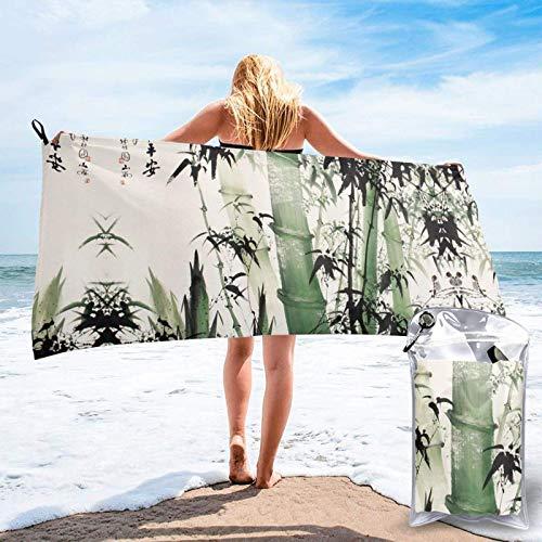 FLDONG Toalla de secado rápido de pintura china de bambú impresión toalla, ultra suave, compacta, ligera, adecuada para camping, gimnasio, playa, natación, yoga, hogar 81.5 x 163 cm